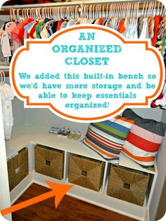 Like the shelf for storage in the closet for toys. [the good life blog]: Organizing your little one's nursery / bedroom!