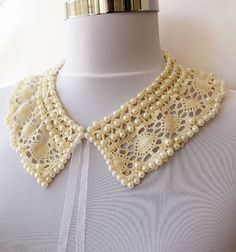 new-Collar Necklace-Pearl embroidery Lace collar-faux collars-peter pan collar-romantic Victorian. $22.00, via Etsy.