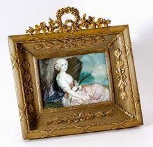 Antique French Dore Bronze Frame, Portrait Miniature after Nattier, Mme Victoire, c. 1770-1830
