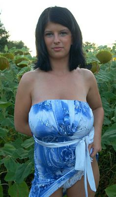 Alicja - blue summer dress - among the sunflowers