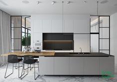 Check out 51 black and white kitchen designs for the modern home. Click now and see the latest black and white kitchen designs only at The Architecture Designs. Kitchen Dinning, Buy Kitchen, Kitchen Decor, Kitchen Ideas, Kitchen Pantry, Black Interior Design, Black And White Interior, Black White, Modern Kitchen Design