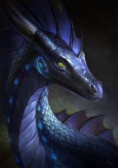 blue dragon concept art illustration portrait, sea dragon green eyes, blue scales and gray horn, watching see