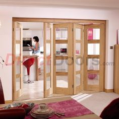 Image of Nuvu Oak Doors, Contemporary 4L Oak 5 Door Set 4 to Right - Clear Glass
