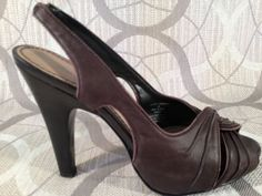 Sz 6M Brown Peep Toe Slings Simply Vera by Vera Wang | eBay