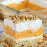 holiday desserts Pumpkin Delight Dessert - so creamy that you wont resist it after a single bite. Layered Desserts, Holiday Desserts, No Bake Desserts, Just Desserts, Delicious Desserts, Dessert Recipes, Health Desserts, Dessert Ideas, Cookie Recipes