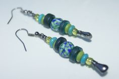 Messy Crow Blue and Green Earrings by MessyCrow on Etsy, $14.00