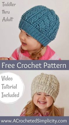 b1840657665 Free Crochet Pattern - Cabled Beanie (Toddler thru Adult Sizes) - Video  Tutorial Included