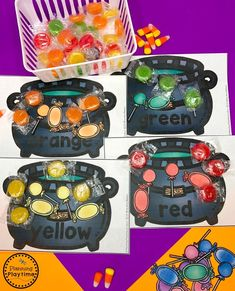 Candy Color Cauldron Sorting - Halloween Games for Preschool Halloween Theme Preschool, Halloween Letters, Theme Halloween, Halloween Activities, Preschool Halloween, Halloween Worksheets, Toddler Learning Activities, Preschool Activities, Preschool Worksheets