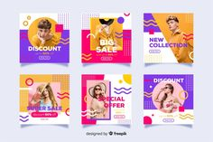 Abstract fashion sale instagram post col... | Free Vector #Freepik #freevector #banner #business #sale #abstract Social Media Banner, Social Media Template, Social Media Design, Instagram Design, Instagram Posts, Banners, Powerpoint Design Templates, Book Design Layout, Instagram Story Template