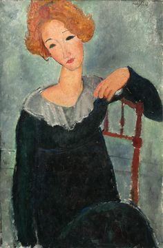 """""""Woman with red hair"""", 1917 by Amedeo Modigliani."""