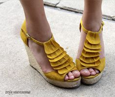 Yellow wedge shoes! Super cute!