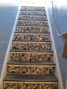 Plates repurposed into mosaic on stairs (buy plates at discount/dollar or goodwill stores) by frieda
