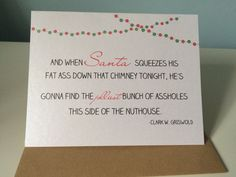 """Christmas Card - """"we'll be the jolliest bunch of a*sholes"""" Handmade, Christmas vacation, Clark Griswold inspired greeting card by UptownDesignsCanada on Etsy Clark Griswold, Christmas Vacation, Etsy Store, Christmas Cards, Greeting Cards, Cards Against Humanity, Handmade Christmas, Unique Jewelry, Handmade Gifts"""