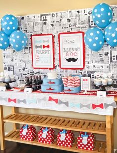 Bow tie and mustache dessert table (Not sure if all the spots and chevrons is erring on the side of overboard!)
