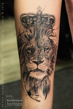 Lion Tattoo, Forearm Tattoo, black and Grey Tattoo
