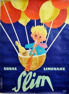 """Vintage ad by André ROLAND.  SLIM. """"SODAS & LIMONADE"""". Imprimerie de la Vasselais, Paris"""