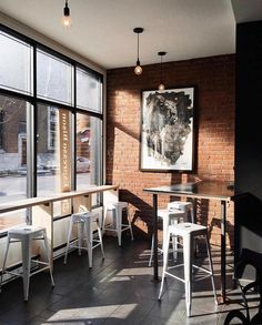 Espresso Bison coffee shop in Montreal 📷: Coffee Shop Interior Design, Coffee Shop Design, Cafe Design, Restaurant Concept, Restaurant Design, Restaurant Seating, Sweet Life Cafe, Small Coffee Shop, Coffee Shops