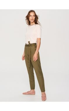 Trousers, Trousers, green, RESERVED
