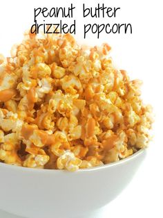 A sweet and salty snack you will be making again and again - nothing is more crowd-pleasing or delicious than peanut butter drizzled popcorn. @TheLemonBowl vegan, gluten free
