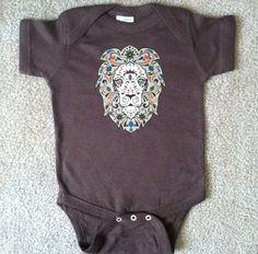 Baby Bodysuit  Sugar Skull Style LION Brown by HappyGoatDesigns