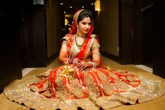 """""""My heart was stuck on Sabyasachi,"""" says Priya about her stunning wedding lehenga in red and gold. Indian Dresses, Indian Outfits, Sabyasachi, Saree, Lehenga Wedding, Punjabi Wedding, Indian Bridal Fashion, South Asian Bride, Indian Wear"""
