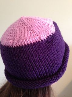 Cute rolled brim wool hat. Pink and purple. by KnrdyKnittr on Etsy, $16.50