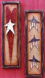 Americana Accents Primitive Independence 4th of July  ~Hurray for the Red, White and Blue! This free scroll saw pattern will proudly display your patriotic colors as Americana wall plaques  ♦Cutting the Wood:  Follow pattern sheet for wood type ♦Paints: Delta Ceramcoat. ♦Colors:   Trail Tan, Oyster White, Midnight Blue, Barn Red, and Dark Burnt Umber. Americana stars are based with  Oyster White first then blue and red are added. Lightly sand allowing white to come through other colors.