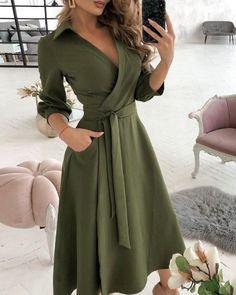 Dress Shirts For Women, Summer Dresses For Women, Summer Dresses With Sleeves, Long Summer Dresses Casual, Cute Long Sleeve Dresses, Green Long Sleeve Dress, Dress Casual, Formal Dresses, Chic Type