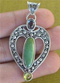 Blue Topaz Peridot Turquise 925 Sterling Silver Jewelry by Gingsir