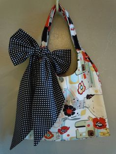 Reversible Swing Bag. Sewing themed with black/red/white poppies and bl/wh polka dotted scarf/sash