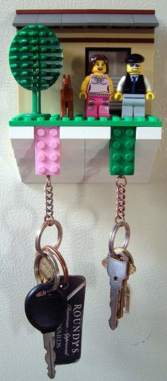 a different Lego key holder idea! (Decided to look up other Lego upcycling ideas. Legos, Lego Key Holders, Deco Lego, Cadeau Couple, Do It Yourself Inspiration, Lego Craft, Ideias Diy, Lego Projects, Lego Building