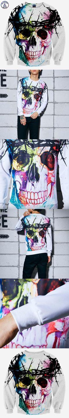 Mr.1991INC Harajuku Skull fashion men's 3d sweatshirt printed tree head ring skull hip hop hoodies long sleeve autumn tops