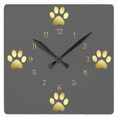 This Classy Dog Paws wall clock design looks lovely; the clock is in quality Grade-A acrylic material and features gold-look numerals and gold-look dog paw motifs. (Affiliate).