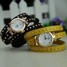 MagicPiece Handmade Vintage Style Leather Watch For Women Thin Belt Wrap Watch in 8 Colors: Yellow: Watches: Amazon.com