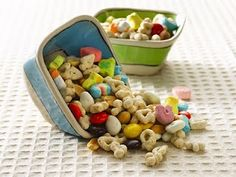 Good Luck snack - Lucky Charms, peanut butter pieces, peanuts, yogurt covered raisins