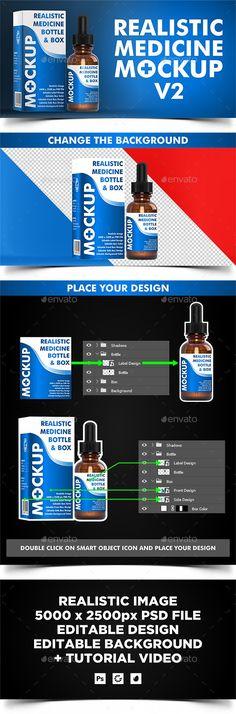 Dropper Bottle ( Medicine #Mockup v2 ) - Miscellaneo#us Packaging