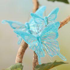 Sheer Blue Iridescent Glitter Artificial Butterflies
