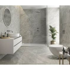 Balmoral Grey Gloss Floor Tiles - Tiles from Tile Mountain Large Tile Bathroom, Grey Marble Bathroom, Grey Marble Tile, Bathroom Floor Tiles, Wall And Floor Tiles, Wall Tiles, Bathroom Ideas, Marble Bathrooms, Bathroom Inspo