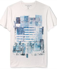 Calvin Klein Jeans Shirt, Flag Colors Short Sleeve T-Shirt - T-Shirts - Men - Macy's