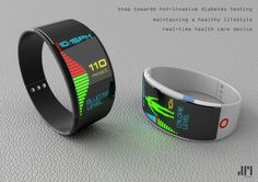 G-Tone Watch Concept by Joshua Sunghoon Mun. It would allow the user to continuously observe their Blood Sugar Level (BSL) throughout the day and would alert the user with an alarm and/or vibration when the elevation of BSL occurred. [This is a concept model for #diabetes tracking]