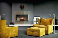 One of my favorite summery interiors' details are velvet sofas. It is the furniture piece without which the living room cannot exist. Interior Design Yellow, Gray Interior, Interior Design Inspiration, Interior Design Living Room, Interior Styling, Interior And Exterior, Living Room Decor, Living Spaces, Interior Colors