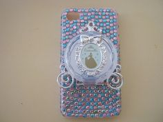 Custom Couture Iphone 4 Case Cover Disney Princess Cinderella Carriage Pink Blue Bow Bling Opens to Be A compact Mirror. $48.00, via Etsy.