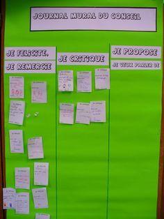 Journal mural du conseil - Carabouille à l'école Class Management, Classroom Management, Professor, Cycle 3, French Resources, Classroom Setting, Classroom Environment, Teacher Organization, Too Cool For School