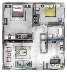 Floor plan created using SketchUp and Photoshop to appear hand rendered. Interior Design Renderings, Interior Design Courses, Interior Rendering, Floor Plan Sketch, Floor Plan Drawing, Architecture Plan, Interior Architecture, The Plan, How To Plan