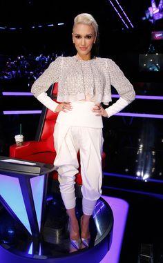 Dynamite in White from Gwen Stefani's The Voice Looks  InAntonio Berardi.
