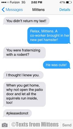 EW Daily Mittens: The Hamster Edition More Mittens: http://textsfrommittens.com/  Order the Mittens book: http://www.amazon.com/Texts-From-Mittens-Unlimited-Afraid/dp/0373893221