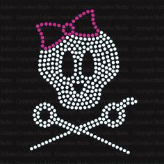 Our hair stylists love this iron-on rhinestone transfer. #skull #bling  #