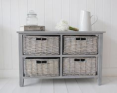 St Ives grey wooden storage furniture with four grey willow basket drawers. Grey Bedroom Furniture, Hall Furniture, Cottage Furniture, Country Furniture, Living Furniture, Shabby Chic Furniture, Painted Furniture, Salvaged Furniture, Furniture Ideas