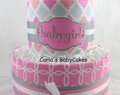 Girl diaper cake Baby diaper cake Diaper by MsCarlasBabyCakes