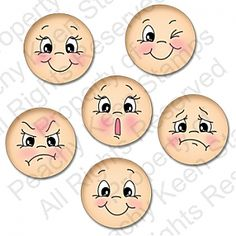 Everyday Character Faces 1 1/8″ expresiones....